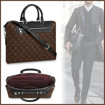 Louis Vuitton MONOGRAM MACASSAR Blended Fabrics A4 2WAY Plain Leather Business & Briefcases