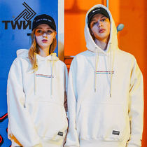 TWN Pullovers Unisex Street Style Long Sleeves Cotton Oversized