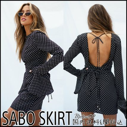 Short Dots Casual Style Long Sleeves Dresses