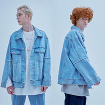 Denim Street Style Plain Denim Jackets Oversized Jackets