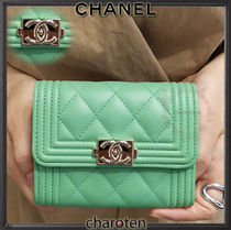 CHANEL BOY CHANEL Unisex Lambskin Plain Coin Purses