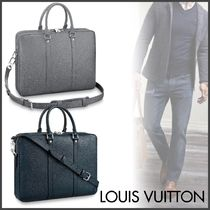 Louis Vuitton TAIGA Blended Fabrics A4 2WAY Plain Leather Business & Briefcases