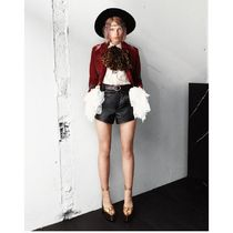 Saint Laurent Short Casual Style Silk Plain Puff Sleeves Cropped