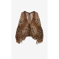 Saint Laurent Short Leopard Patterns Silk Long Sleeves Elegant Style