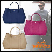 HERMES Garden Party Unisex Street Style Plain Leather Totes