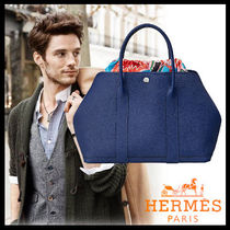 HERMES Unisex Street Style Plain Leather Totes