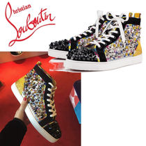 Christian Louboutin Blended Fabrics Studded Leather Sneakers