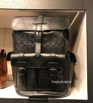 Coach Monogram Unisex A4 Leather Backpacks