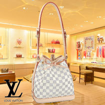 Louis Vuitton DAMIER AZUR Leather Elegant Style Shoulder Bags