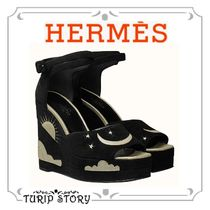 HERMES Star Open Toe Studded Leather Block Heels With Jewels