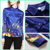 Flower Patterns Chiffon Long Sleeves Other Animal Patterns