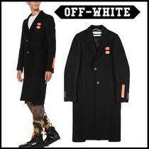 Off-White Wool Plain Chester Coats