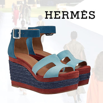 8a2c04527d8e ... HERMES Platform   Wedge Platform Plain Leather Platform   Wedge ...