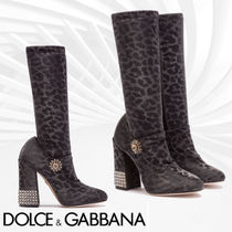 Dolce & Gabbana Leopard Patterns Casual Style Block Heels