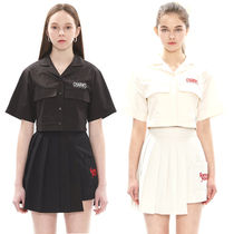 Charm's Short Casual Style Street Style Plain Cotton Short Sleeves