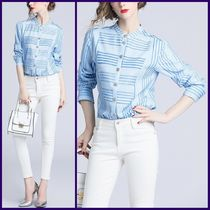 Stripes Chiffon Long Sleeves Medium Elegant Style