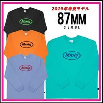 87MM Crew Neck Unisex Street Style Long Sleeves Plain Cotton