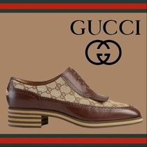 GUCCI Monogram Straight Tip Loafers Tassel Leather