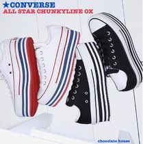 CONVERSE ALL STAR Stripes Casual Style Unisex Plain Low-Top Sneakers
