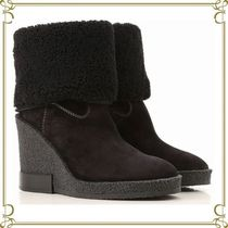TOD'S Round Toe Casual Style Suede Plain Wedge Boots