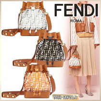 FENDI Monogram Casual Style Calfskin Blended Fabrics Shoulder Bags