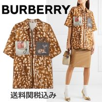 Burberry Blended Fabrics Other Animal Patterns Cotton Short Sleeves