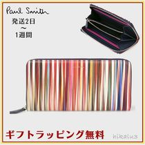 Paul Smith Stripes Leather Long Wallets