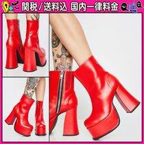 DOLLS KILL Casual Style Faux Fur Plain Chunky Heels High Heel Boots