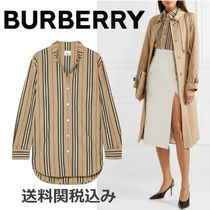 Burberry Stripes Blended Fabrics Long Sleeves Cotton Elegant Style