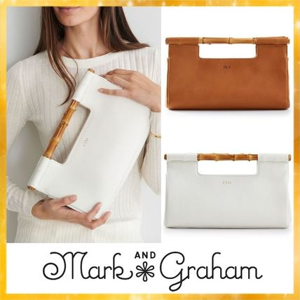 Casual Style Blended Fabrics Plain Leather Clutches