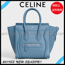 CELINE Luggage Unisex Calfskin Blended Fabrics Bag in Bag A4 Plain