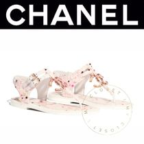 CHANEL ICON Wedge Open Toe Tweed Street Style Plain Handmade With Jewels