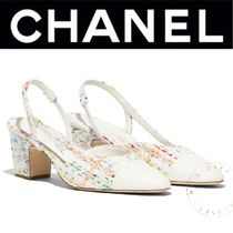 CHANEL ICON Other Check Patterns Plain Toe Casual Style Tweed