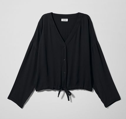 Casual Style V-Neck Long Sleeves Tops
