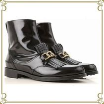 TOD'S Round Toe Plain Leather Fringes Ankle & Booties Boots
