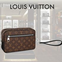 Louis Vuitton MONOGRAM MACASSAR Street Style Leather Clutches