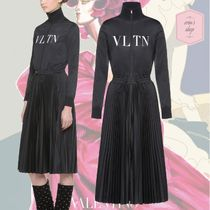 VALENTINO Casual Style Long Sleeves Plain Medium High-Neck Dresses