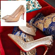 Christian Louboutin Blended Fabrics Plain Leather Pin Heels Party Style