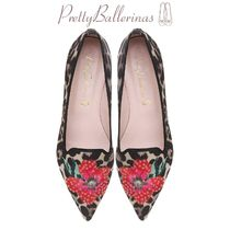 Pretty Ballerinas Flower Patterns Leopard Patterns Casual Style Slip-On Shoes