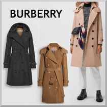 Burberry Plain Long Elegant Style Trench Coats