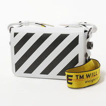 Off-White Stripes Unisex 2WAY Leather Messenger & Shoulder Bags