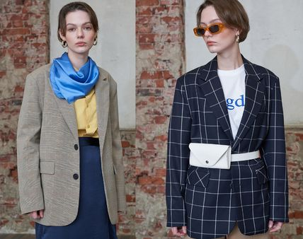 Other Check Patterns Unisex Street Style Medium Office Style