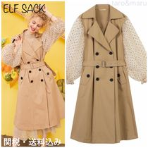 ELF SACK Dots Casual Style Blended Fabrics Plain Medium Trench Coats