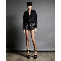 Saint Laurent Short Casual Style Linen Long Sleeves Plain Cropped