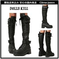 DOLLS KILL Round Toe Lace-up Casual Style Faux Fur Plain Lace-up Boots