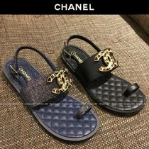 CHANEL Plain Leather Elegant Style Sandals