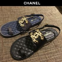 CHANEL Plain Leather Elegant Style Mules Sandals Sandal