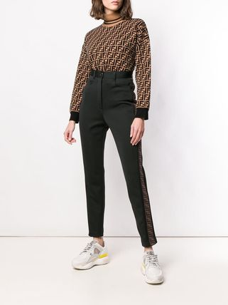 FENDI Monogram Casual Style Plain Long Skinny Pants