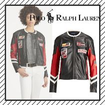 POLO RALPH LAUREN Short Star Street Style Leather Biker Jackets