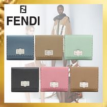 FENDI Plain Leather Folding Wallets